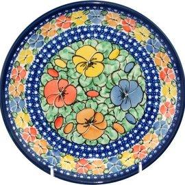 Ceramika Artystyczna Dinner Plate Watercolor Pansies Signature 4