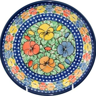 Ceramika Artystyczna Dinner Plate Watercolor Pansies Signature 4