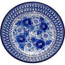 Ceramika Artystyczna Straight Sided Pie Plate Blue on Blue Signature