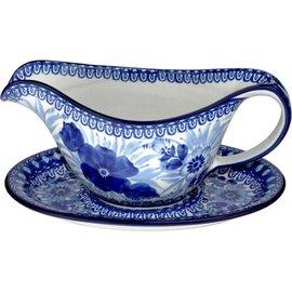 Ceramika Artystyczna Gravy Boat Blue on Blue Signature
