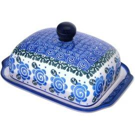 Ceramika Artystyczna Domed Butter Dish Lady Godiva Blue
