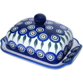 Ceramika Artystyczna Domed Butter Dish Royal Peacock