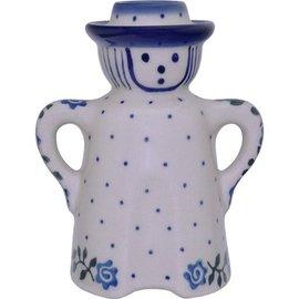 Ceramika Artystyczna Folk Candle Holder Gentleman Antique Rose