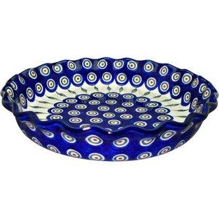 Ceramika Artystyczna Deep Pie Plate Royal Peacock