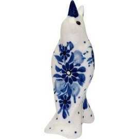 Ceramika Artystyczna Pie Bird Blue on Blue Signature