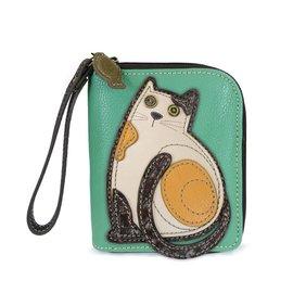 Chala Zip Around Wallet Cat Teal