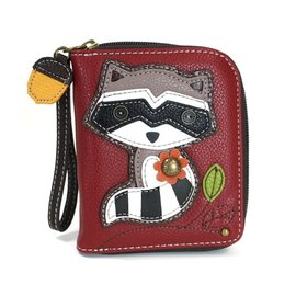 Chala Zip Around Wallet Raccoon Burgundy