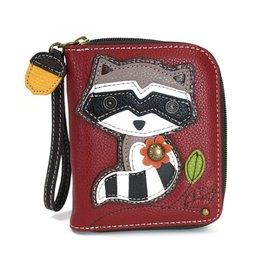Chala Zip Around Wallet Raccoon Burgundy