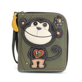 Chala Zip Around Wallet Monkey Dark Olive