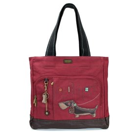 Chala Pocket Tote Wiener Dog Burgundy