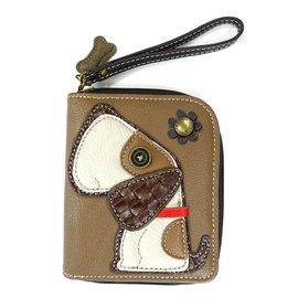 Chala Zip Around Wallet Dog Brown