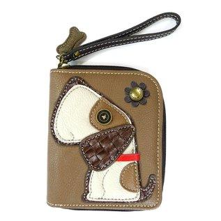 Chala Zip Around Wallet Dog Brown