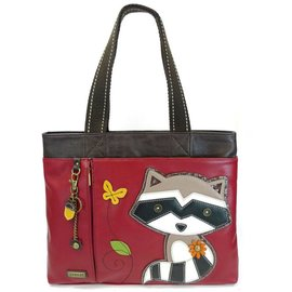 Chala Big Tote Raccoon Burgundy w/ Charm