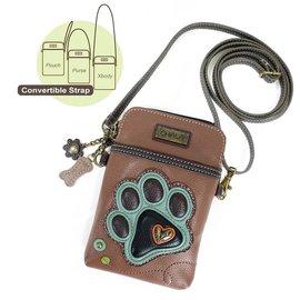 Chala Cell Phone Crossbody PawPrint Brown