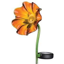 Regal Art & Gift Mini Solar Poppy Stake Orange