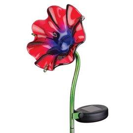 Regal Art & Gift Mini Solar Poppy Stake Red
