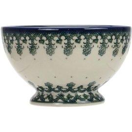 Ceramika Artystyczna Pedestal Bowl Size 1 Lacework Green