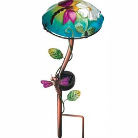 Regal Art & Gift Solar Stake Glass Mushroom with Dragonfly