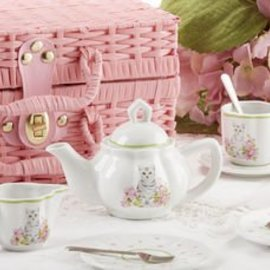 Delton Products Corporation Porcelain Tea Set w/ Basket Pink Cat