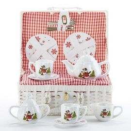 Delton Products Corporation Porcelain Tea Set w/ Basket Snowman