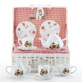 Delton Products Corporation Porcelain Tea Set w/ Basket Snowman