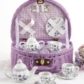 Delton Products Corporation Porcelain Tea Set w/ Basket Violets