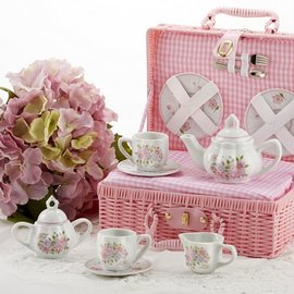 Delton Products Corporation Porcelain Tea Set w/ Basket Country Flower