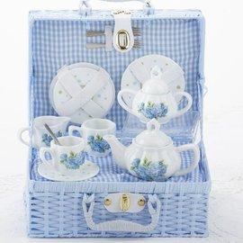 Delton Products Corporation Porcelain Tea Set w/ Basket Hydrangea