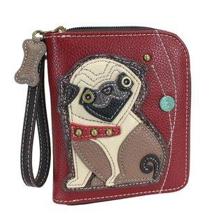 Chala Zip Around Wallet Pug Burgundy