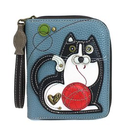 Chala Zip Around Wallet Fat Cat Blue