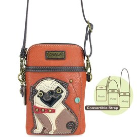 Chala Cell Phone Crossbody Pug Orange