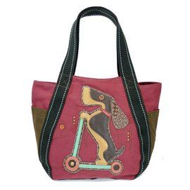 Chala Carryall Zip Tote Wiener Dog Scooter Burgundy