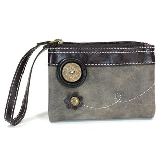 Chala Double Zip Wallet Stone Gray