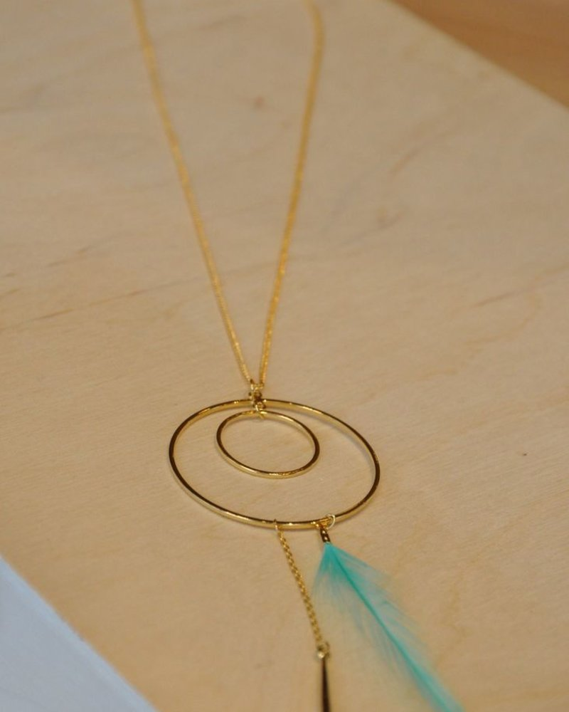 BOBO NECKLACE SHORT CIRCLE AND TRUE FEATHER MINT