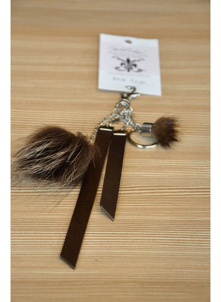 ELISABETH LEHOUX LEHOUX KEY RING EQUINOXE BROWN