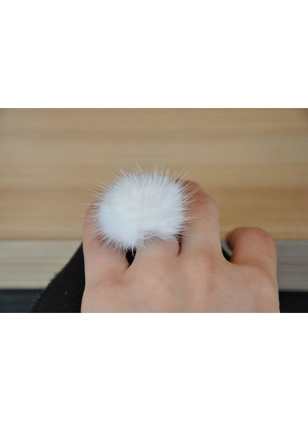 ELISABETH LEHOUX LEHOUX RING CELESTE FUR WHITE ML