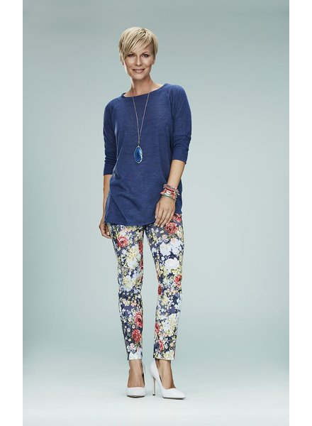 LISETTE PANT ANKLE 28 '' PINK DAISY PATTERN BLUE