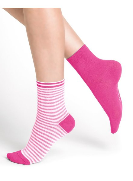 BAS/COLLANT BLEU FORÊT BLUE FORET DUO PINK STRIPED SOCKS