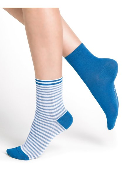 BAS/COLLANT BLEU FORÊT BLUE FORET DUO FRENCH RIBBED SOCKS AZUR / BLEU