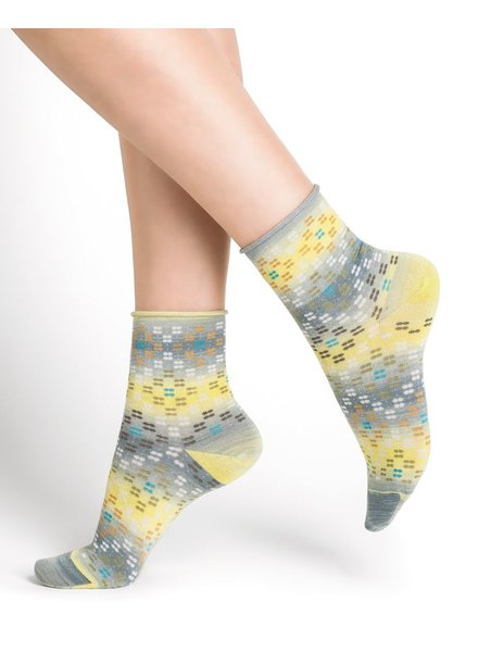 BAS/COLLANT BLEU FORÊT BLUE FORET SOCKS VELOUTEES ETHNIC CANARY / YELLOW