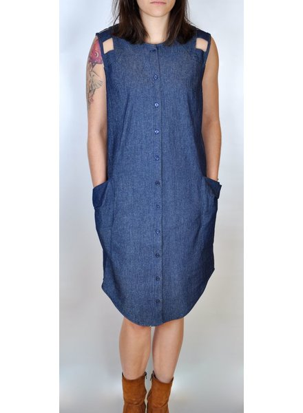 EVE GRAVEL ROBE SHOTGUN WEDDING DENIM INDIGO