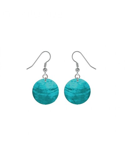 CARACOL BOUCLE D'OREILLE ROND NACRE TURQUOISE