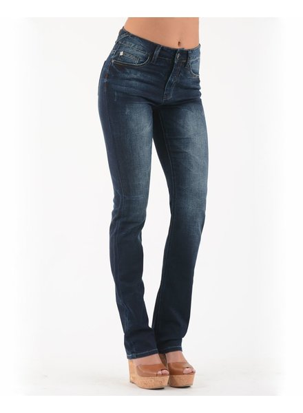 BECXY B. HADLEY JEANS STRAIGHT WHISKERS/BLEU FONCÉ