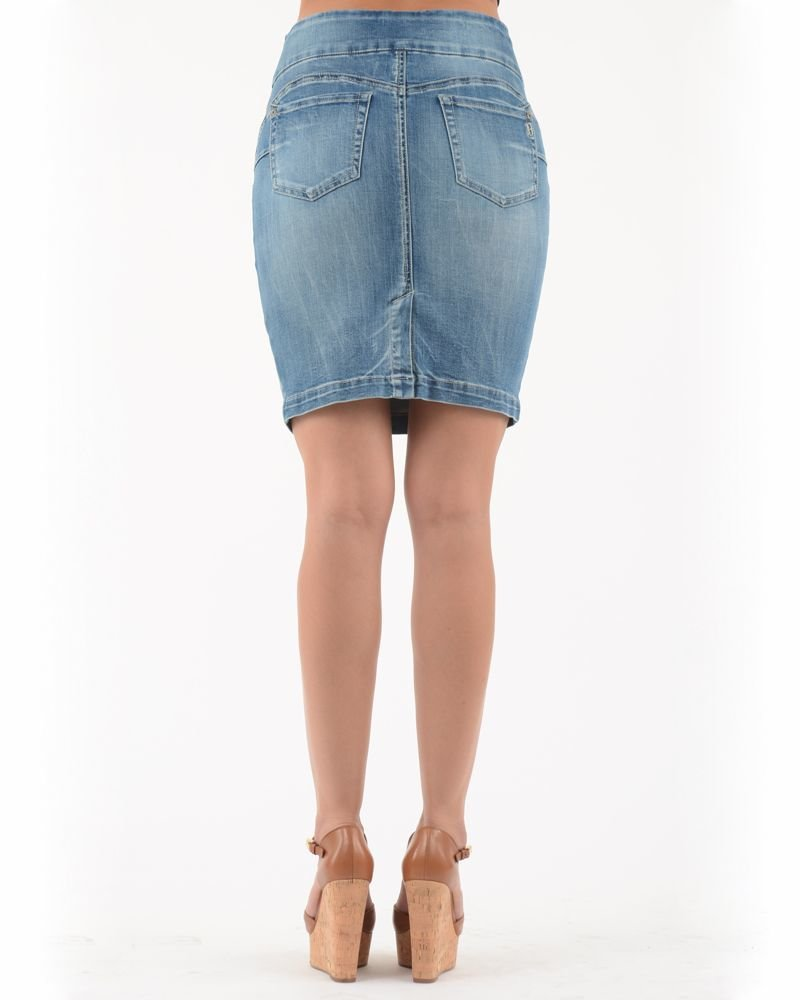 BECXY B. ABY JUPE PULL ON JEANS STONEWASH BLEU