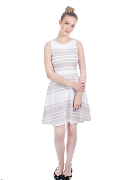 OOM OMM DRESS OLIVIA STRIPES BEIGE / WHITE
