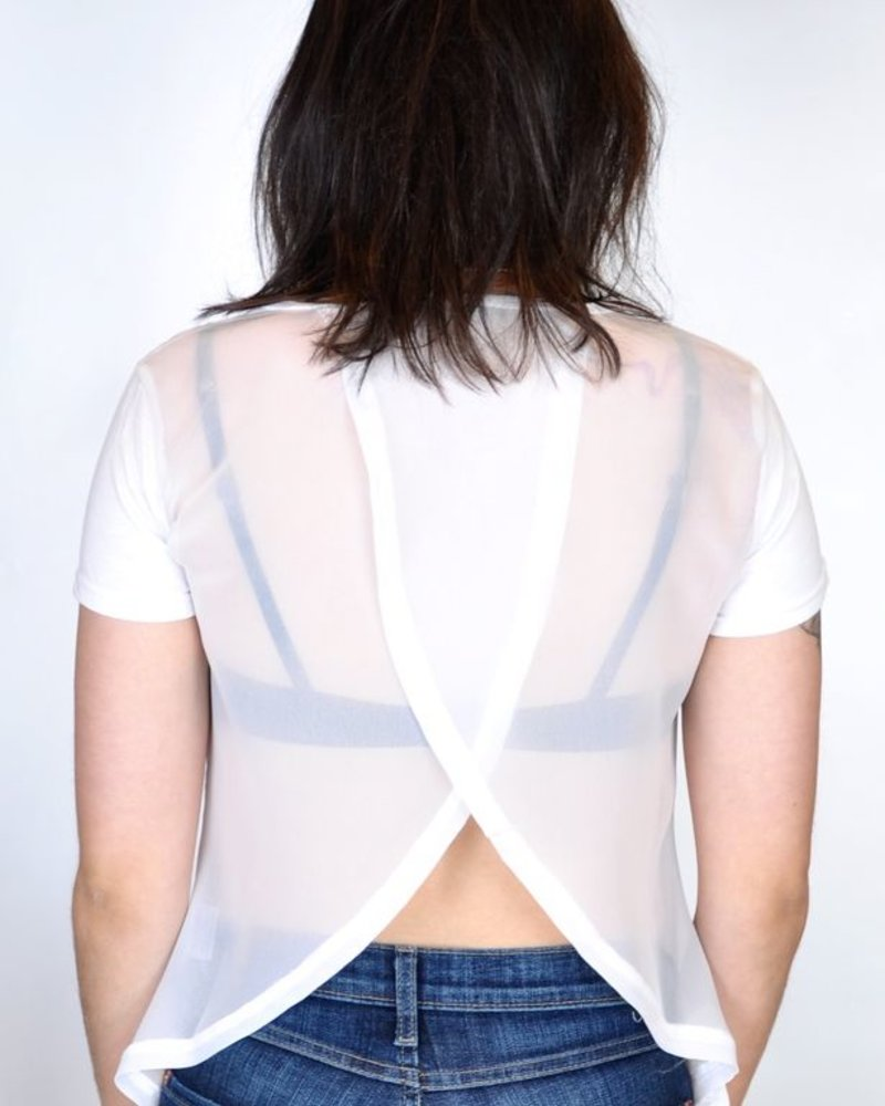 T shirt cotton front back cross white cloth boutique nomade for Cotton white t shirt