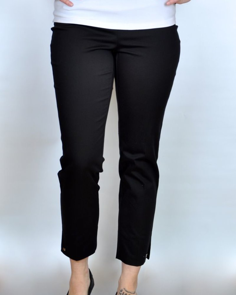 LISETTE CROP ANKLE 26 '' PANTS JUPITER FABRIC SLITS & STUDS BLACK