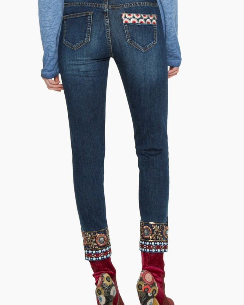 DESIGUAL JEANS ANKLE EXOTIC BRODERIE