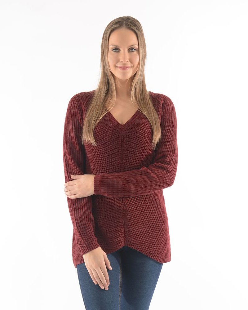 BECXY B. CHANDAIL ADELYNE V NECK SWEATER W BURGANDY/BOURGOGNE