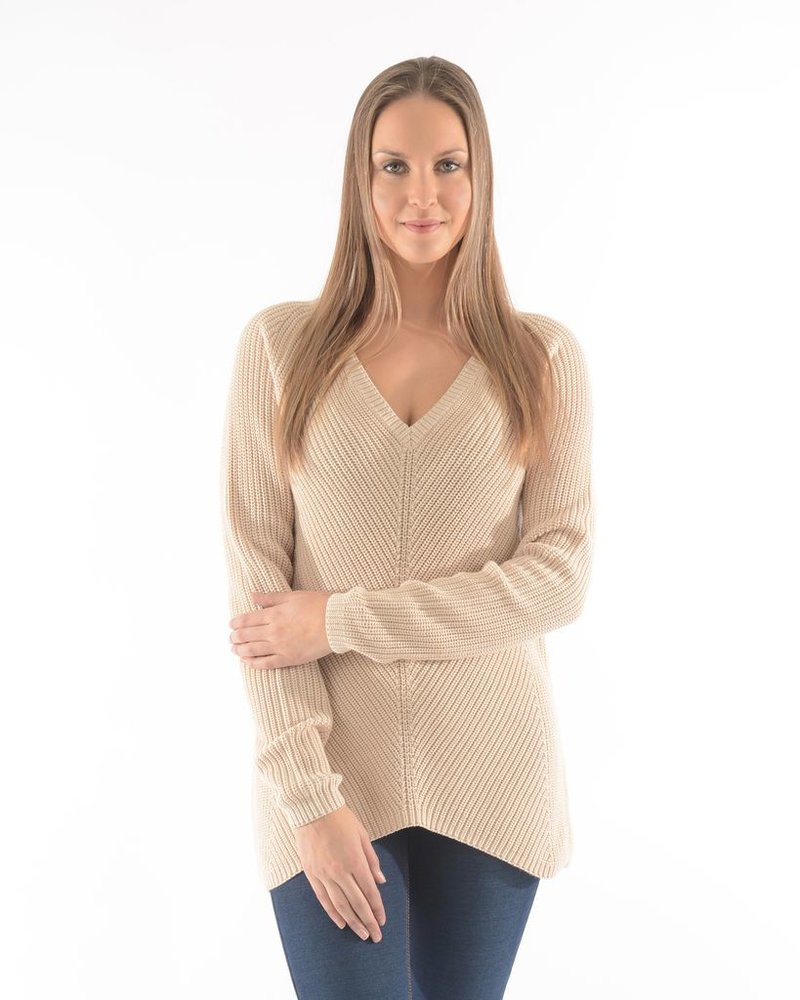 BECXY B. ADELYNE V NECK SWEATER W BUTTER / BEIGE SWEATER